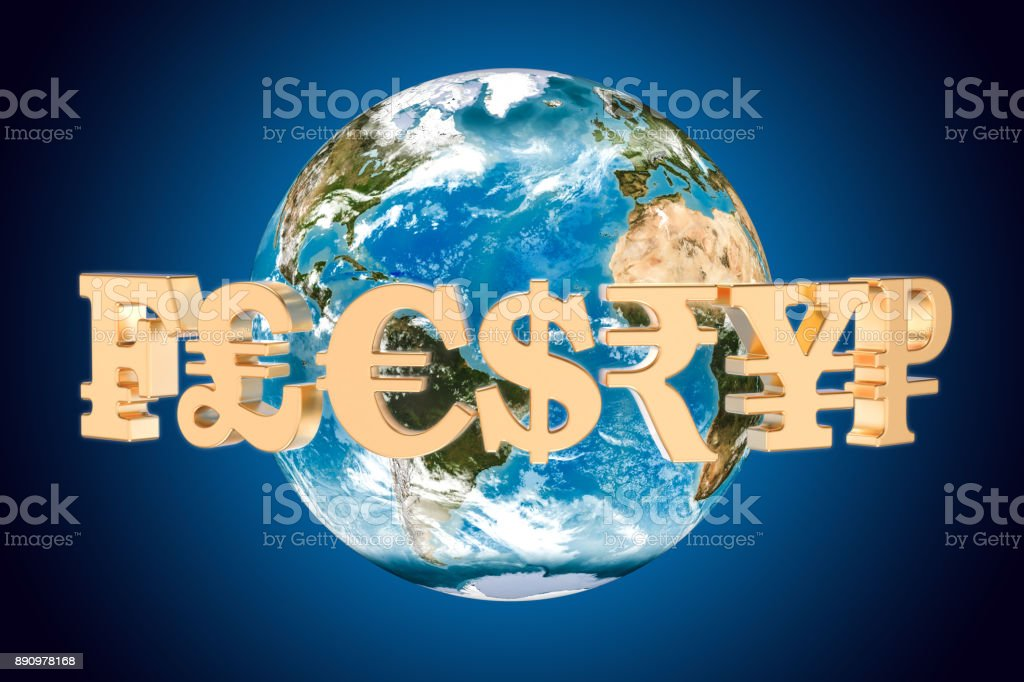 Currency symbols around the Earth Globe, 3D rendering stock photo