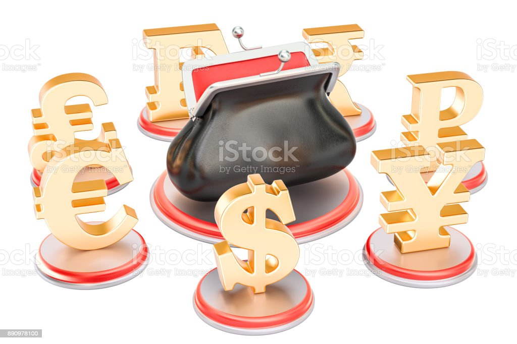 Currency symbols around the purse, 3D rendering isolated on white background stock photo