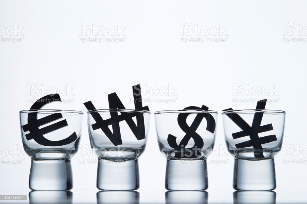 Currency symbols in glass
