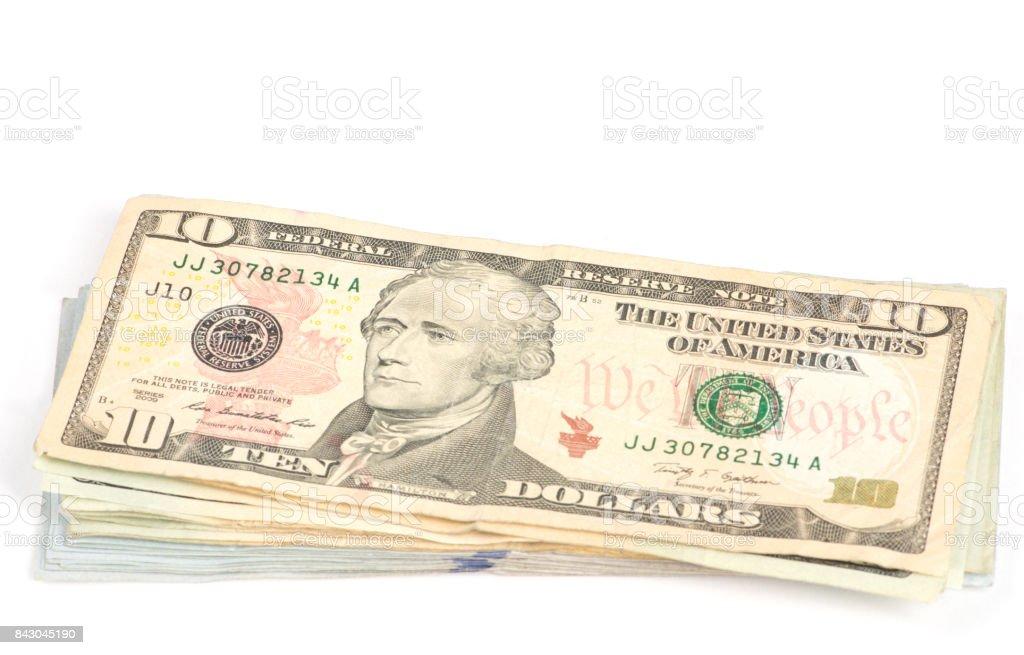 US Currency Ten Dollar Bill stock photo