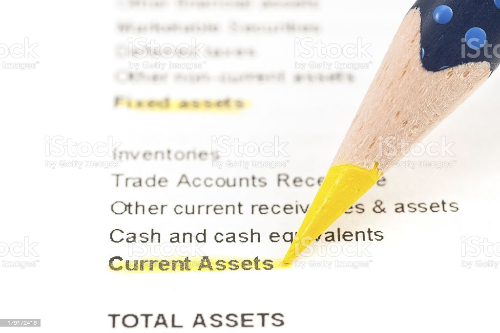 current assets highligted in balance sheet royalty-free stock photo