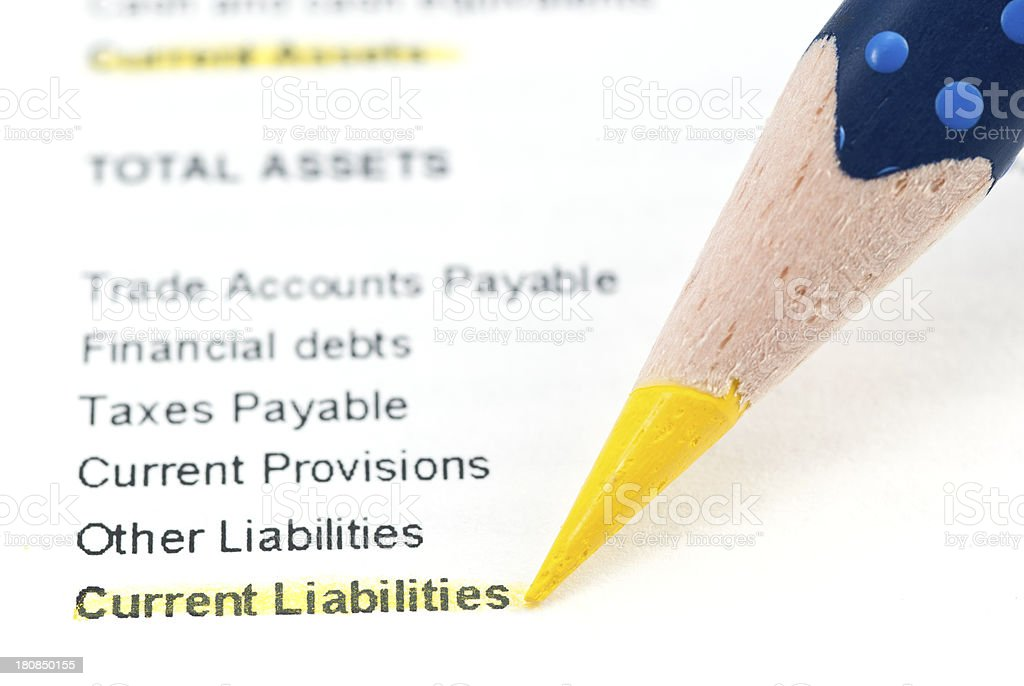 Current liabilities in balance sheet royalty-free stock photo