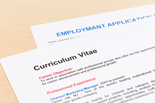 istock Curriculum vitae and employment application form 1096948844