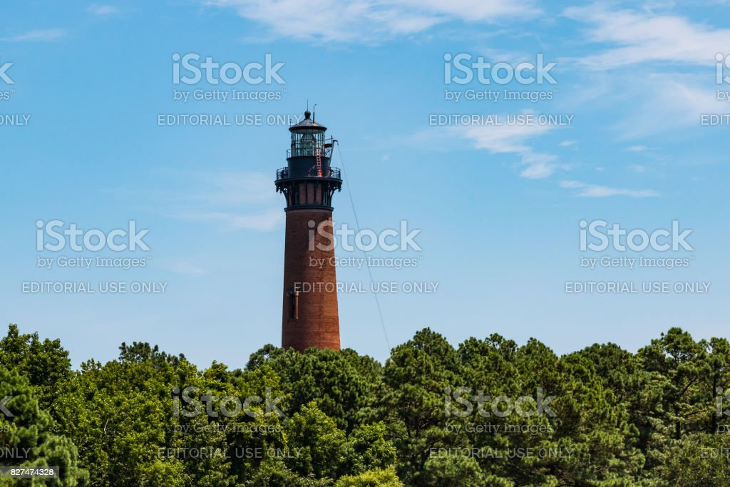 Currituck Beach Lighthouse in Corolla, North Carolina stock photo