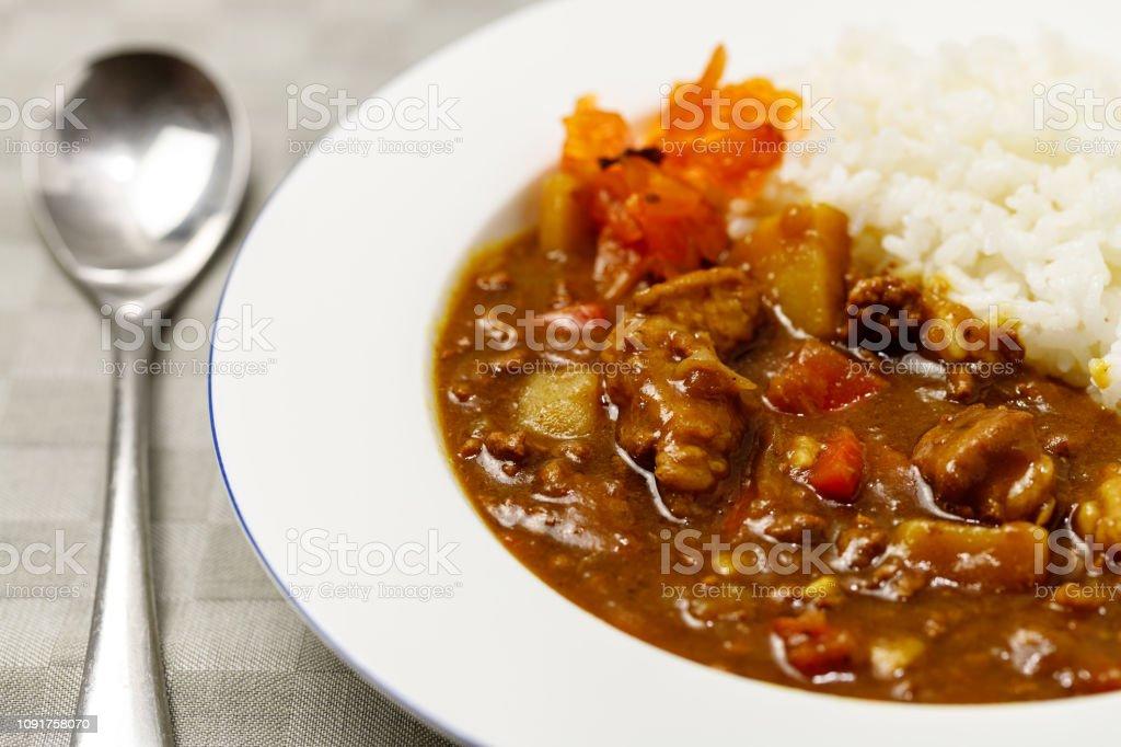 Curry e arroz - Foto de stock de Arroz - Alimento básico royalty-free