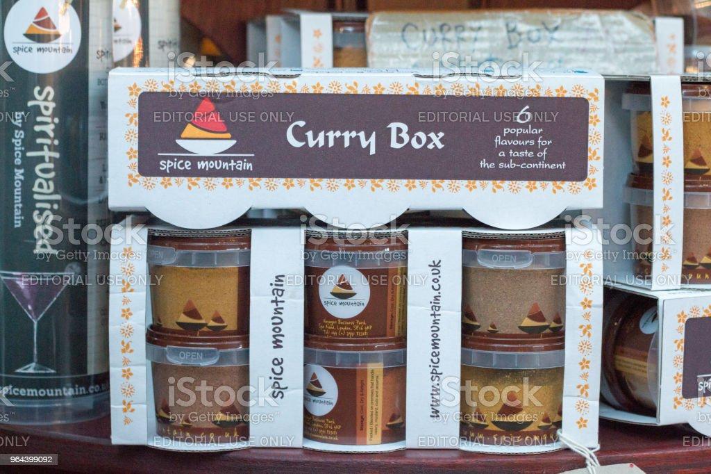 Caixa de curry no Borough Market, Londres - Foto de stock de Alimentação Saudável royalty-free