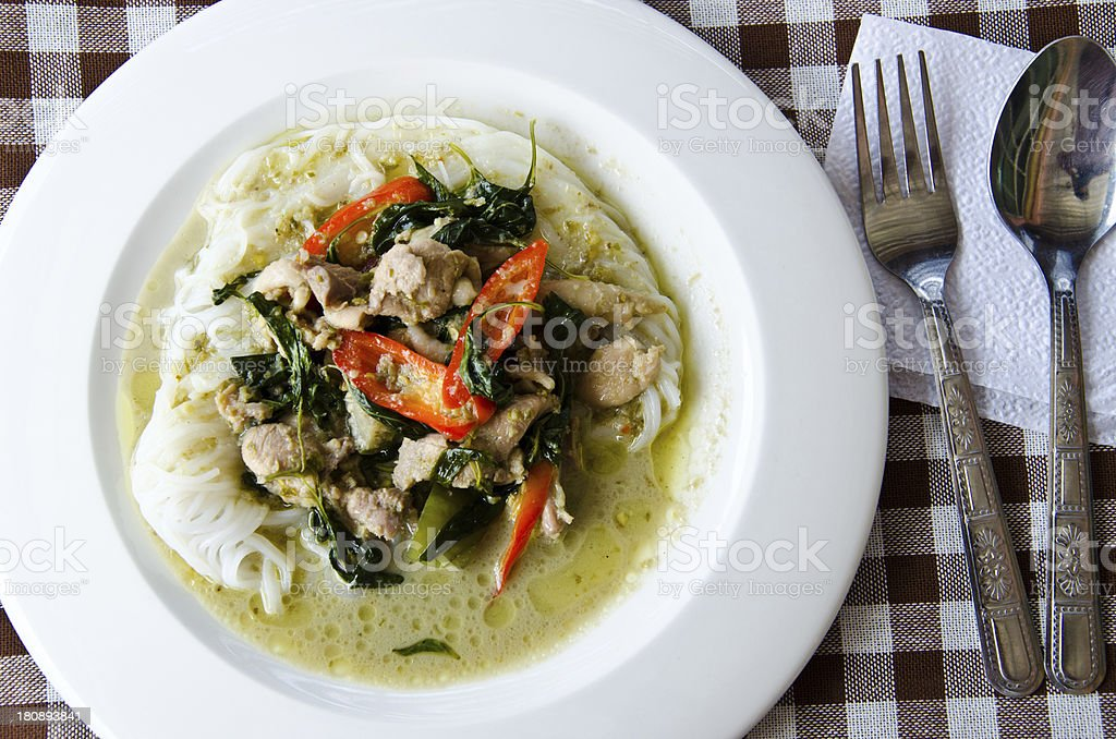 Curry chicken noodles. stock photo