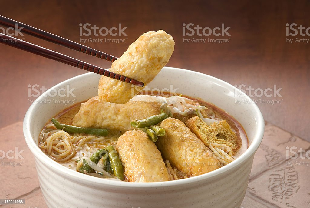 Curry Laksa Noodles royalty-free stock photo