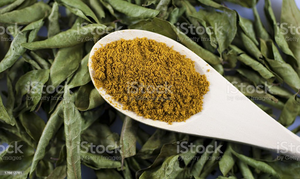 Curry leaves and powder Curry powder on wooden spoon and curry leaves Cooking Stock Photo