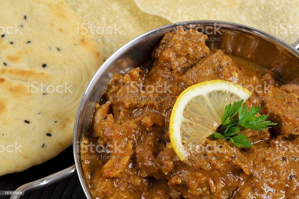 Curry, Naan & Poppadoms stock photo