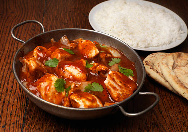 curry night chicken curry with rice and nan balti dish stock pictures, royalty-free photos & images