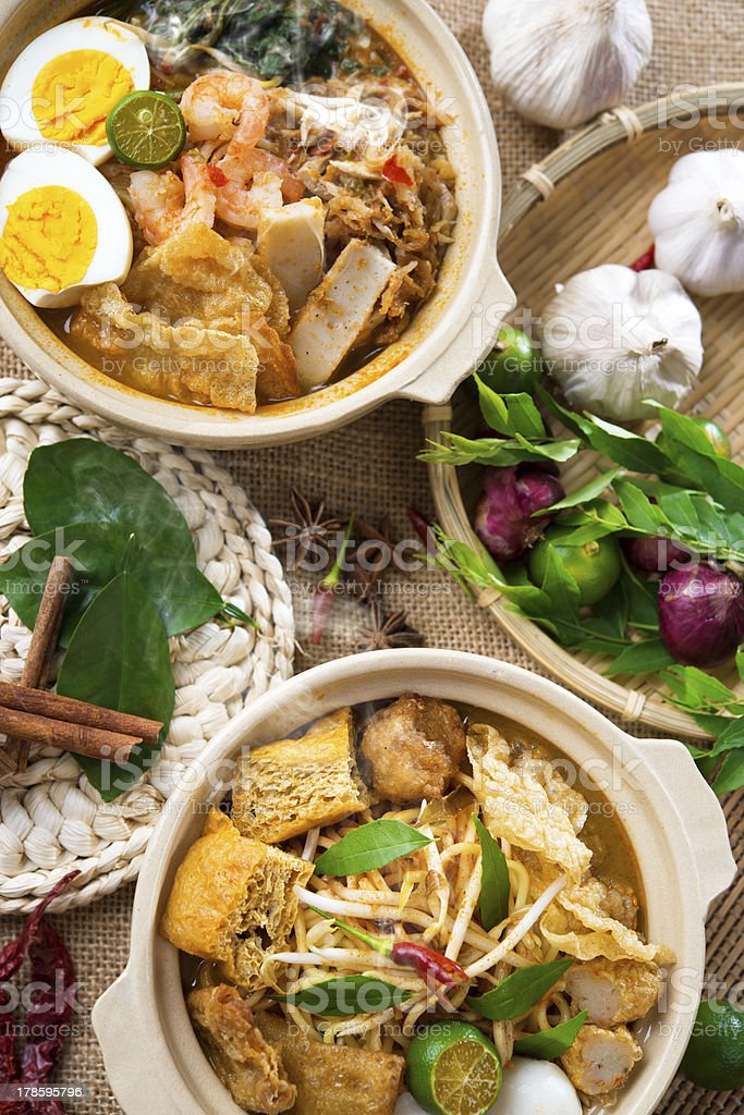 Curry Noodle and prawn mee stock photo