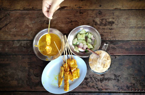 curry pork grill with appetiser thai food - appetiser stock photos and pictures