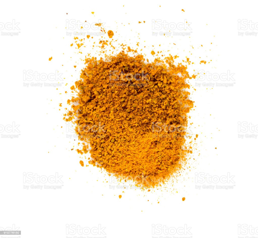 curry powder isolated on white background stock photo