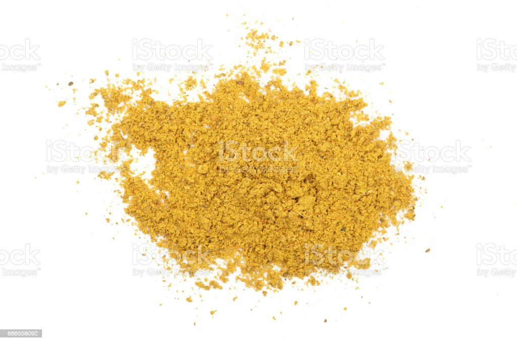 curry powder isolated on white background. Top view stock photo