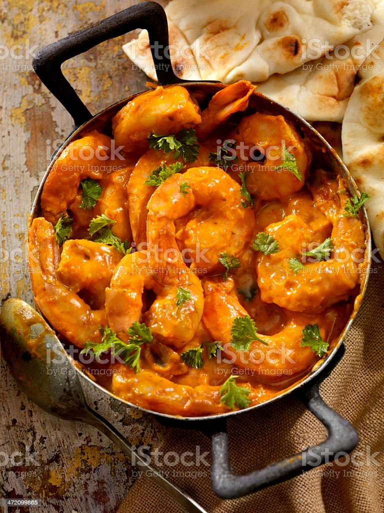 Curry Shrimp Curry Shrimp with Rice, Fresh Parsley and Naan Bread-Photographed on Hasselblad H1-22mb Camera Basmati Rice Stock Photo