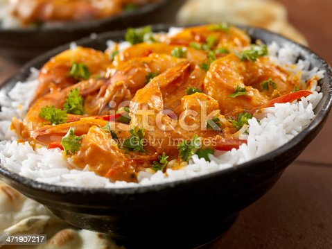 Curry Shrimp Rice Bowl with Fresh Parsley and Naan Bread-Photographed on Hasselblad H1-22mb Camera