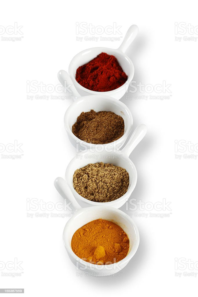 Curry Spices on White stock photo