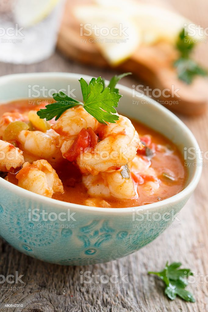 Curry with shrimps stock photo