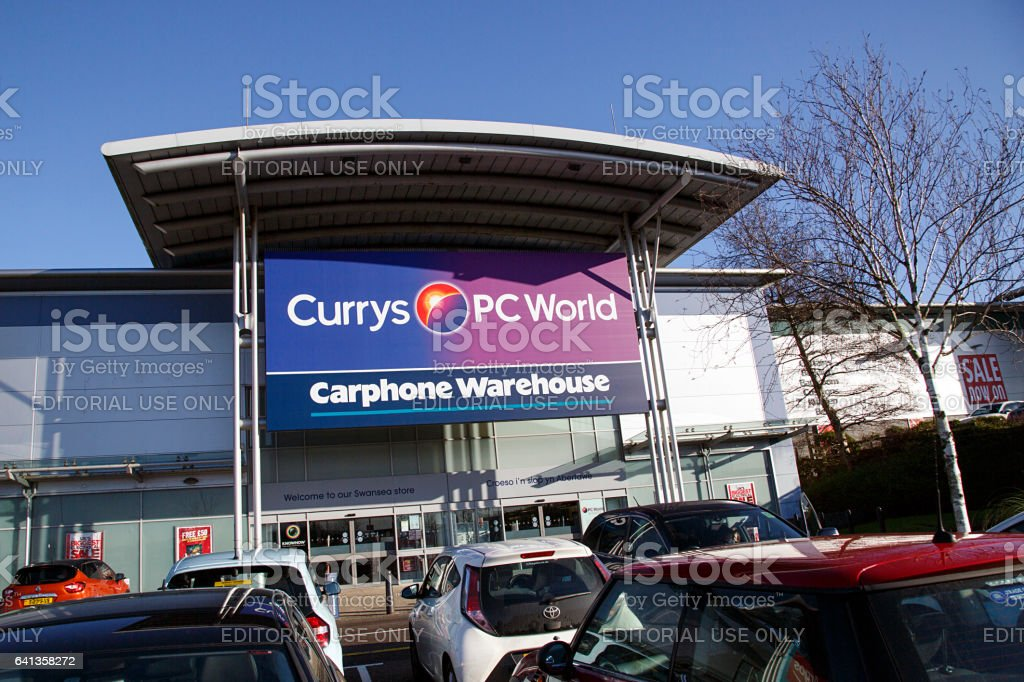 Currys, PC World and Carphone Warehouse retail outlet in a small shopping mall in Swansea.