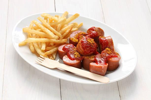currywurst, curry-wurst - currywurst stock-fotos und bilder