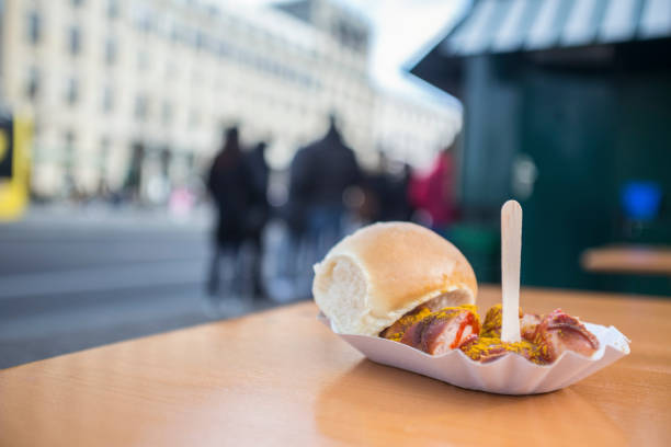 currywurst in berlin germany - currywurst stock-fotos und bilder