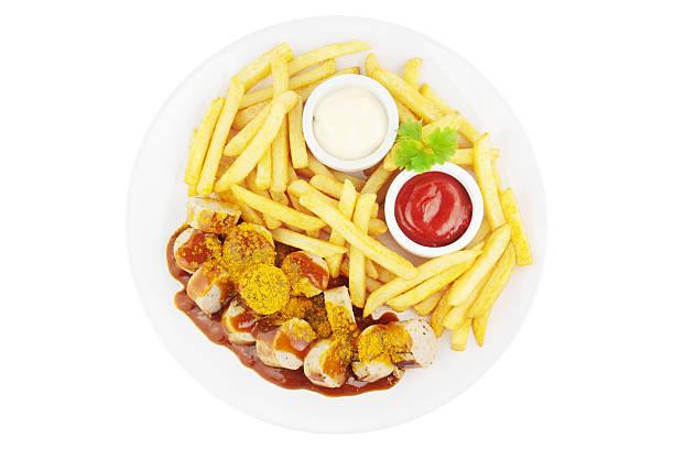 currywurst mahlzeit - currywurst stock-fotos und bilder