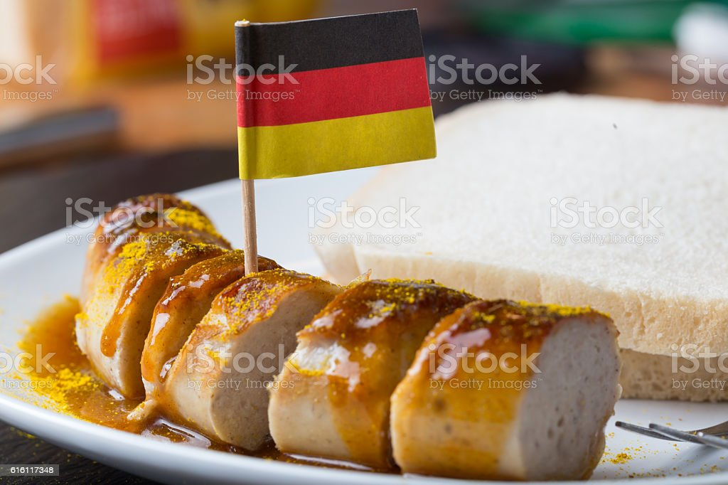 currywurst with german flag stock photo