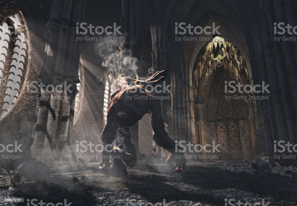 Cursed monster kneeling in the church stock photo