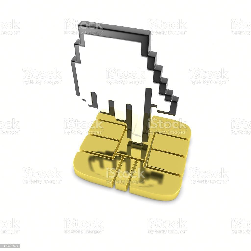 Curson On Computer Chip stock photo