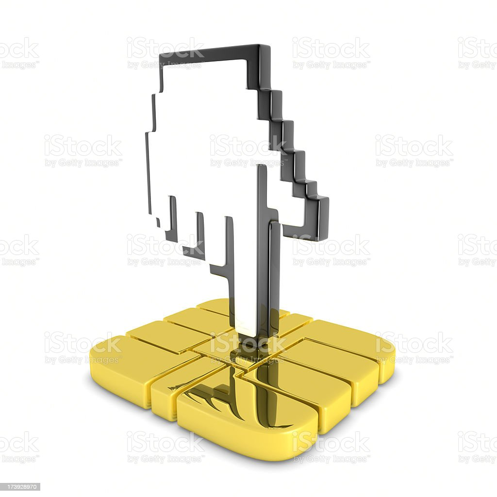 Curson On Smart Card Chip stock photo