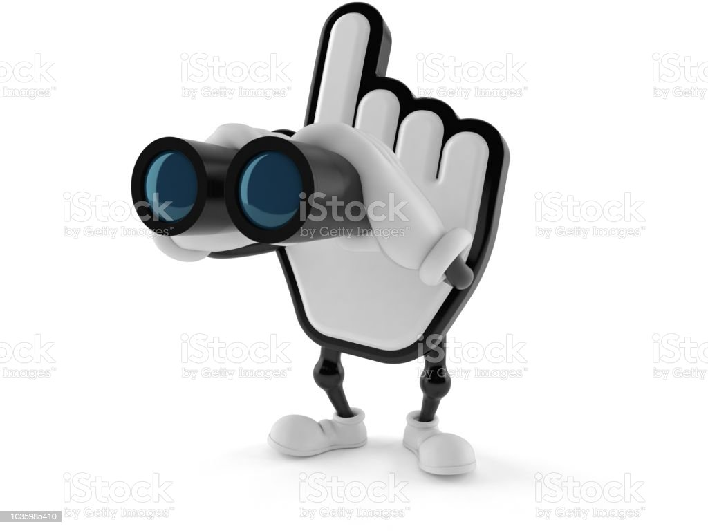 Cursor character looking through binoculars stock photo
