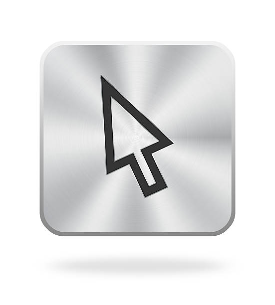 cursor icon with metal texture - mouse pointer stock photos and pictures