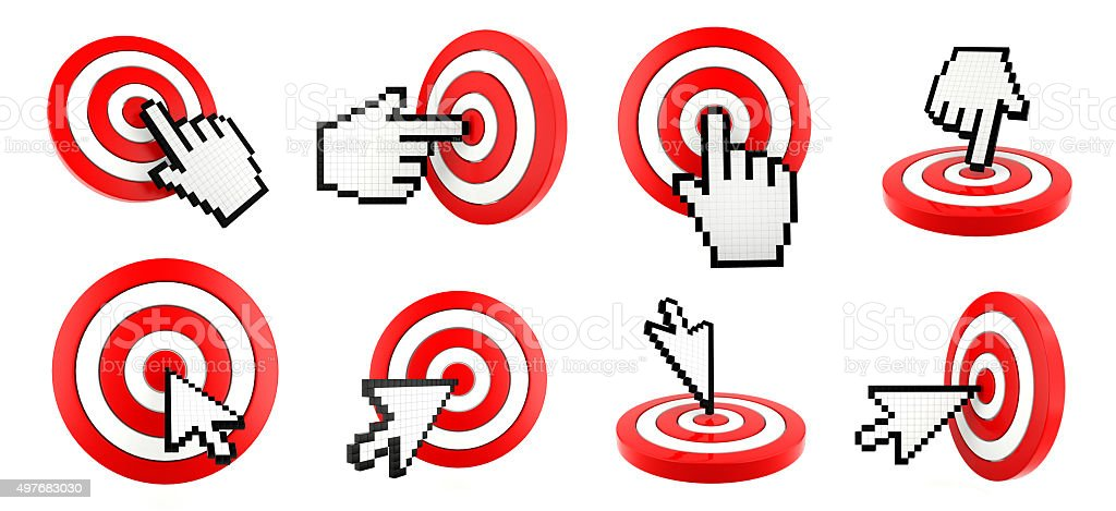 Cursor pointing and target stock photo