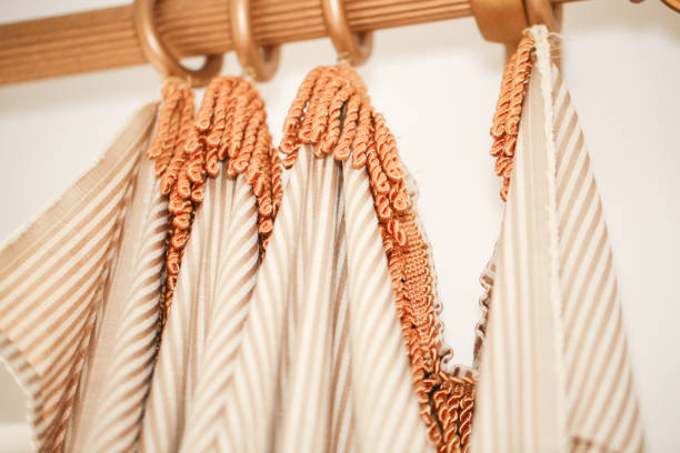 curtain and curtain rod - deign stock pictures, royalty-free photos & images