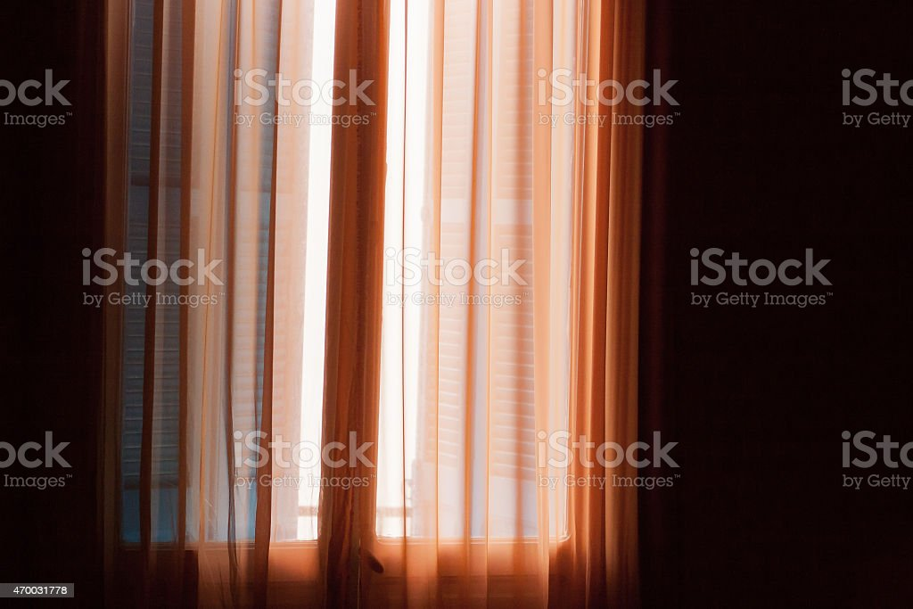 Curtain and lovely light stock photo