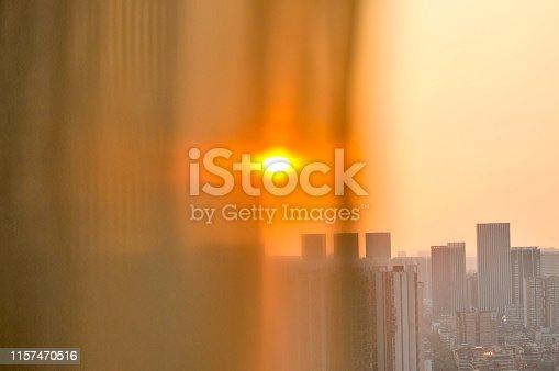 Curtain in sunrise background