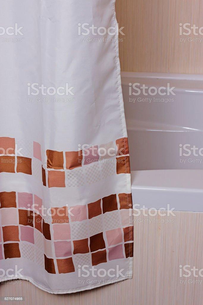 curtain in the bathroom stock photo