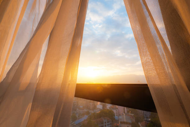 Curtain in the morning stock photo