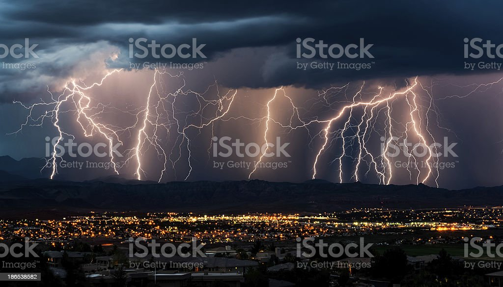 Curtain of Lightning Over City - Royalty-free City Stock Photo