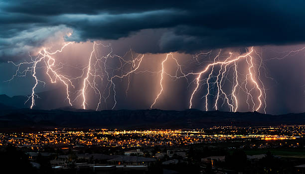 Curtain of Lightning Over City stock photo