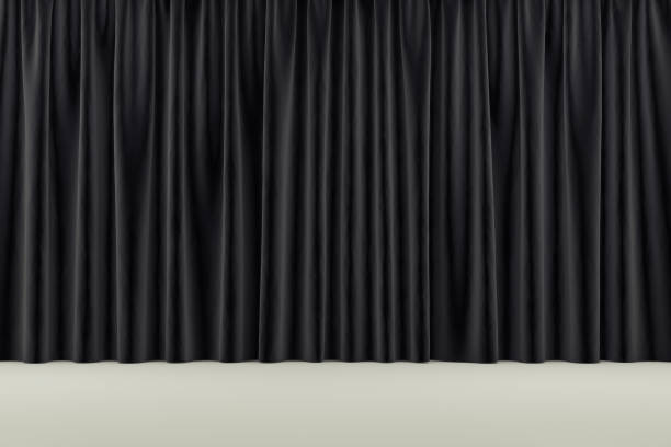 curtain or drapes background. 3d render - curtain stock pictures, royalty-free photos & images