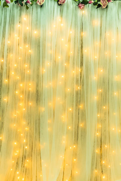 Curtain with flowers and fairy blights stock photo