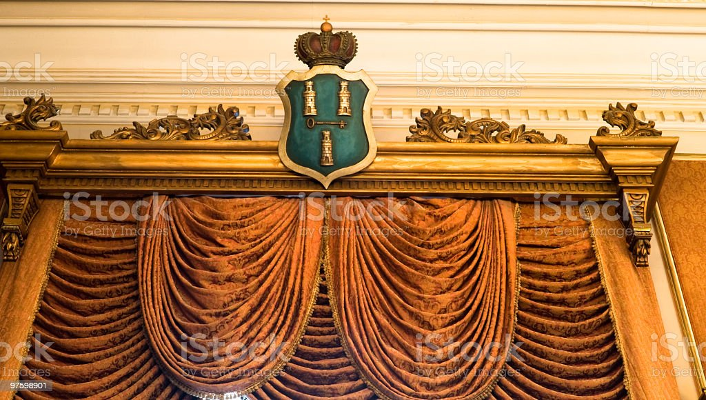 Curtains and Havana Coat of Arms royalty-free stock photo