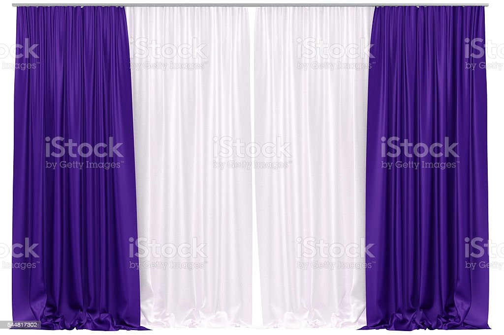 Curtains isolated on white background. stock photo