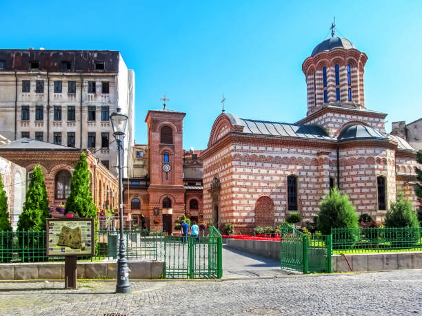 Curtea Veche and Annunciation Church of Saint Anthony in Bucharest, Romania stock photo