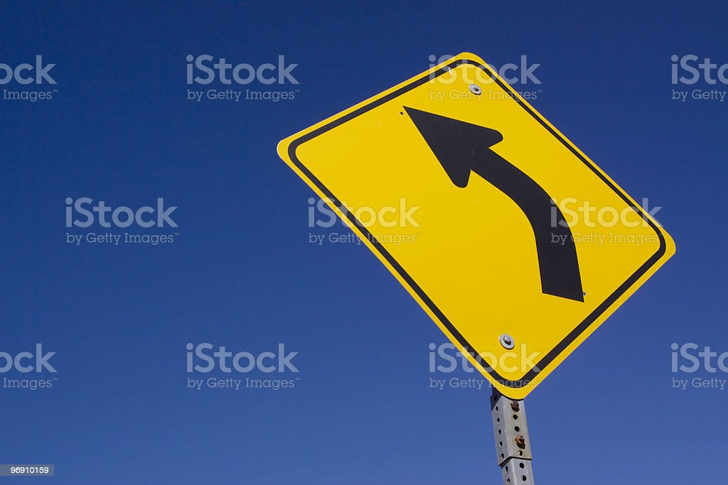 Curve ahead road sign royalty-free stock photo