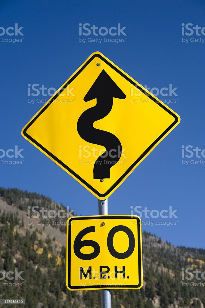 Curve Approaching Street Sign royalty-free stock photo