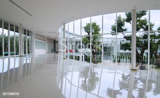 istock Curve glass wall in the modern building 531398253