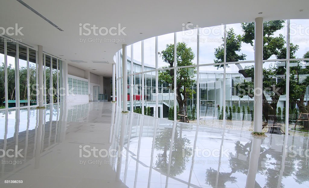 Curve glass wall in the modern building stock photo